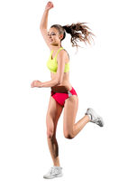 Young girl runner isolated on white