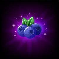 Blueberries with green leaf slot icon for online casino or mobile game, vector illustration with sparkles on dark purple background.