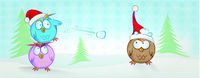 funny owl cartoon on christmas banner . christmas background