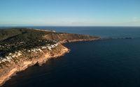 Es Ribell, rocky shoreline Mediterranean sea. Majorca. Spain