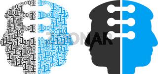 Dual Head Interface Mosaic of Binary Digits