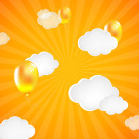 Yellow Sunburst Background With Clouds And Balloons