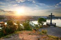 Liberty bridge aerial view