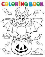 Coloring book Halloween bat theme 1