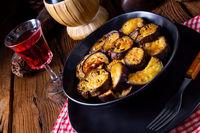 Melitzanes Tiganites - fried aubergines in the Greek style.