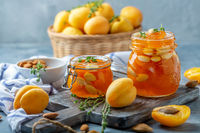 Apricot jam with thyme and almonds.