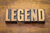 legend word in vintage wood type