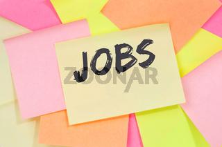 Jobs, job working recruitment work employees employment business concept note paper