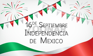 Announcement about day of independence of Mexico with flags