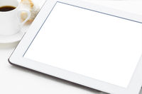 digital tablet with white isolated screen