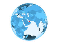 United Arab Emirates on blue globe isolated