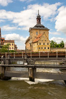 Tourists at the historic town hall of Bamberg