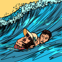 beach lifeguard rescues drowning woman