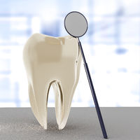 Tooth with dental mirror, 3d illustration