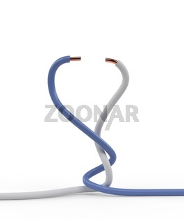 Pair of electrical cable wires twisted together with white and blue insulation isolated 3d illustration