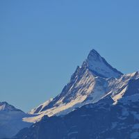 Mount Finsteraarhorn. View from Mount Niederhorn. Mountain in the Bernese Oberland.