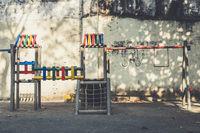 vintage playground, climbing frame , jungle gym - outdoor playground