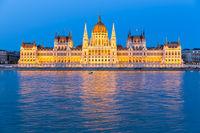 Parliament Building along river Danube at night