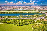 Danube river and Vienna cityscape view