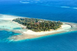 Malediven Insel Urlaub Paradies Meer Textfreiraum Copyspace Embudu Resort Luftbild