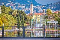 City of Nice cityscape and Fontaine Miroir d eau park view