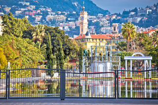 City of Nice cityscape and Fontaine Miroir d eau park view