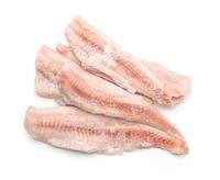Top view of frozen cod fillets
