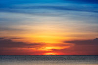 beautiful red sunset over sea