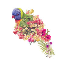 Rainbow Lorikeet parrot with flowers.Double Exposure Effect