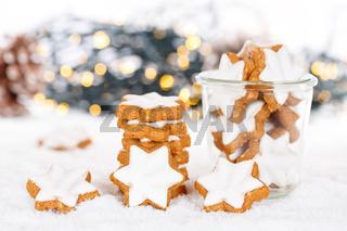 Weihnachten Plätzchen Weihnachtsplätzchen Gebäck Sterne Zimtsterne Winter Schnee