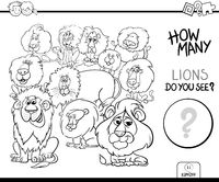 counting lions animals game coloring book