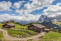 Alpine huts on the Alpe di Siusi
