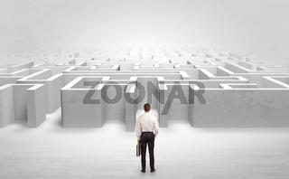 Businessman choosing between entrances at the edge of a maze