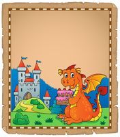 Dragon holding cake theme parchment 1