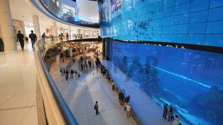 Dubai, UAE - May 15, 2018: Aquarium in Dubai Mall - world's largest shopping mall, Downtown Burj Khalifa.