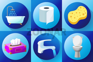 Bathroom flat colored icon set vector - Toilet, water tap, napkins, toilet paper, towels, shower, washcloth and bath sponge,