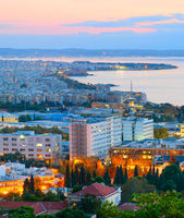 View Thessaloniki at dusk. Greece
