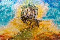 Blown multi color Glass of Jesus Christ