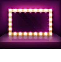 Gold signboard or makeup mirror frame with light bulbs template