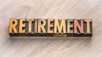 retirement word abstract in wood type