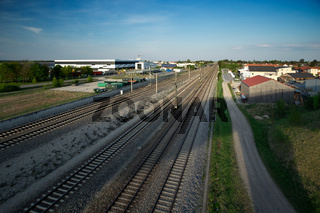 Train tracks in a countryside