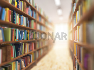 Library stacks of books and bookshelf with DOF effect and light in the end.