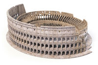 Coliseum, Colosseum isolated on white. Model of architectural and historic symbol of Rome and Italy,