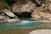 Green blue water of the river Langtang Khola, Langtang National Park, Nepal.