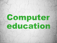 Learning concept: Computer Education on wall background