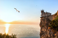 Swallow Nest Castle at sunset, Crimea, Ukraine