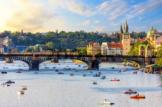 Boating in the centre of Prague near Old Town and Manes bridge