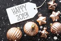 Bronze Christmas Balls, Snowflakes, English Text Happy 2019