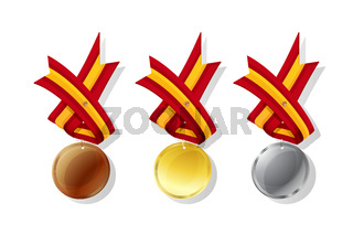 Spanish vector medals set