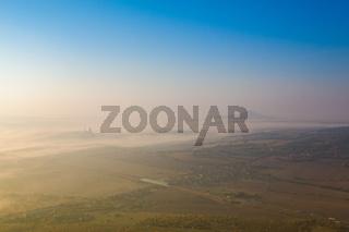 Misty morning in Central Bohemian Uplands, Czech Republic.